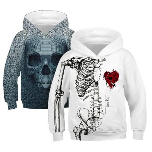 Kids Boys Casual 3D Printed Hooded  Hoodies Sweatshirt Pullover Tops Oversized