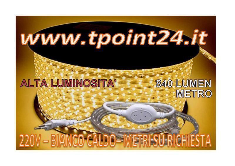 STRISCIA LED 220V/SMD5050 IP65 -METRI SU ALIMENTATORE RICHIESTA-COMPLETA DI ALIMENTATORE SU 73f83d