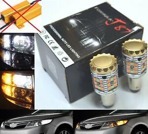 Canbus LED Switchback Light White Amber 1157 Two Bulb Front Turn Signal No Error
