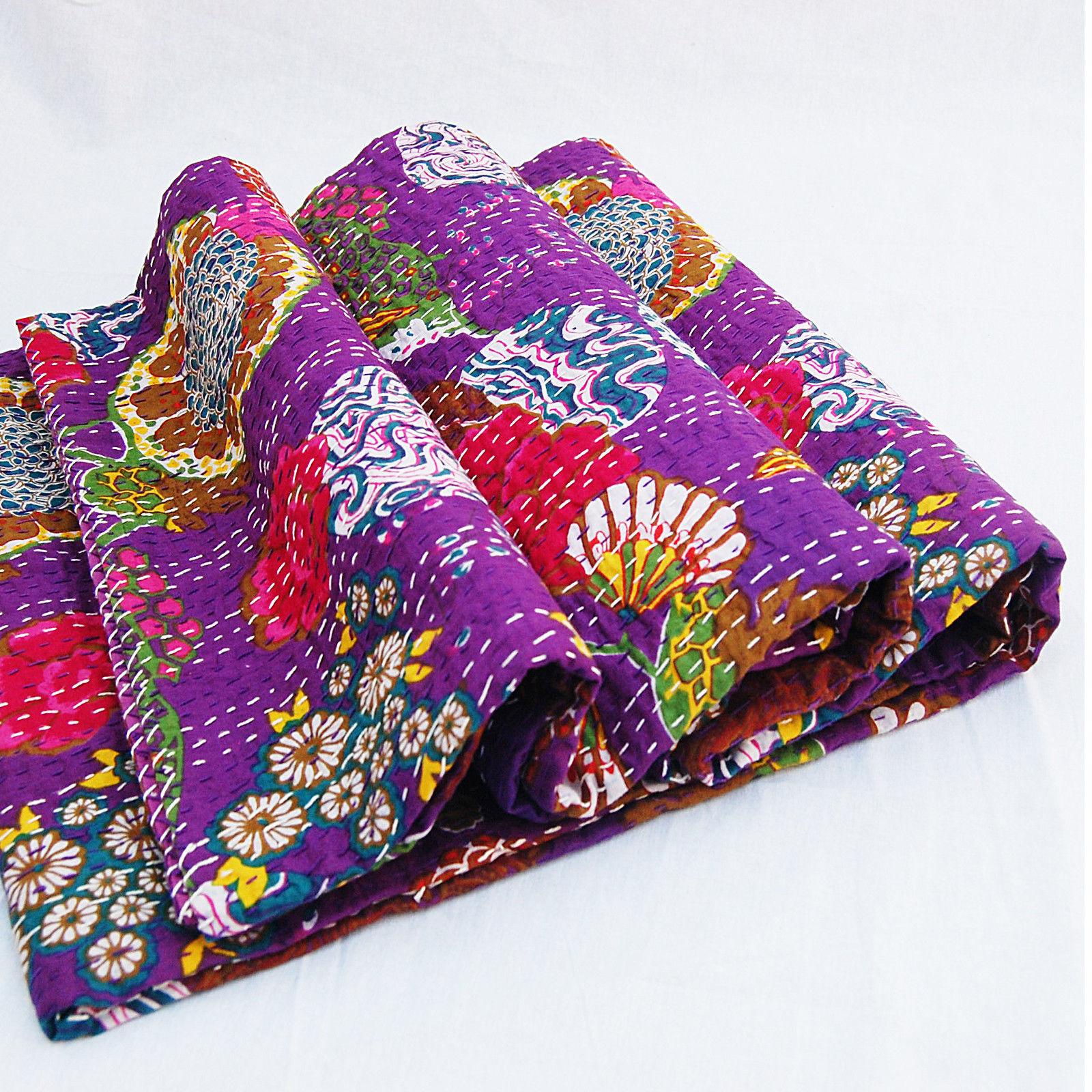 Indian Kantha Quilt Cotton Blanket Handmade Bedding Bedspread Single Quilt