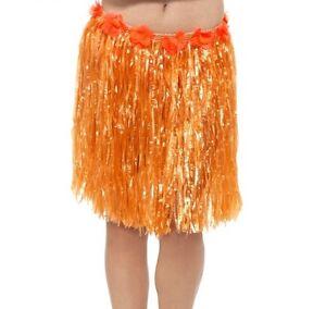 Gonna-Hula-Costume-Hawaiano-Gonna-Hawaiana-con-fiori-Arancione-46cm-da-Smiffys