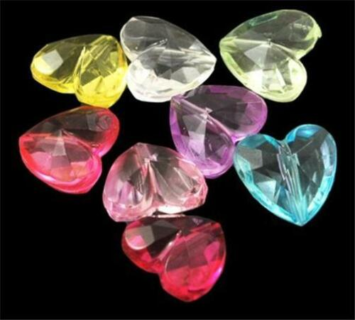 MIXED COLOURS.............B687 * 12mm PACK OF 20 FACETED ACRYLIC HEART BEADS