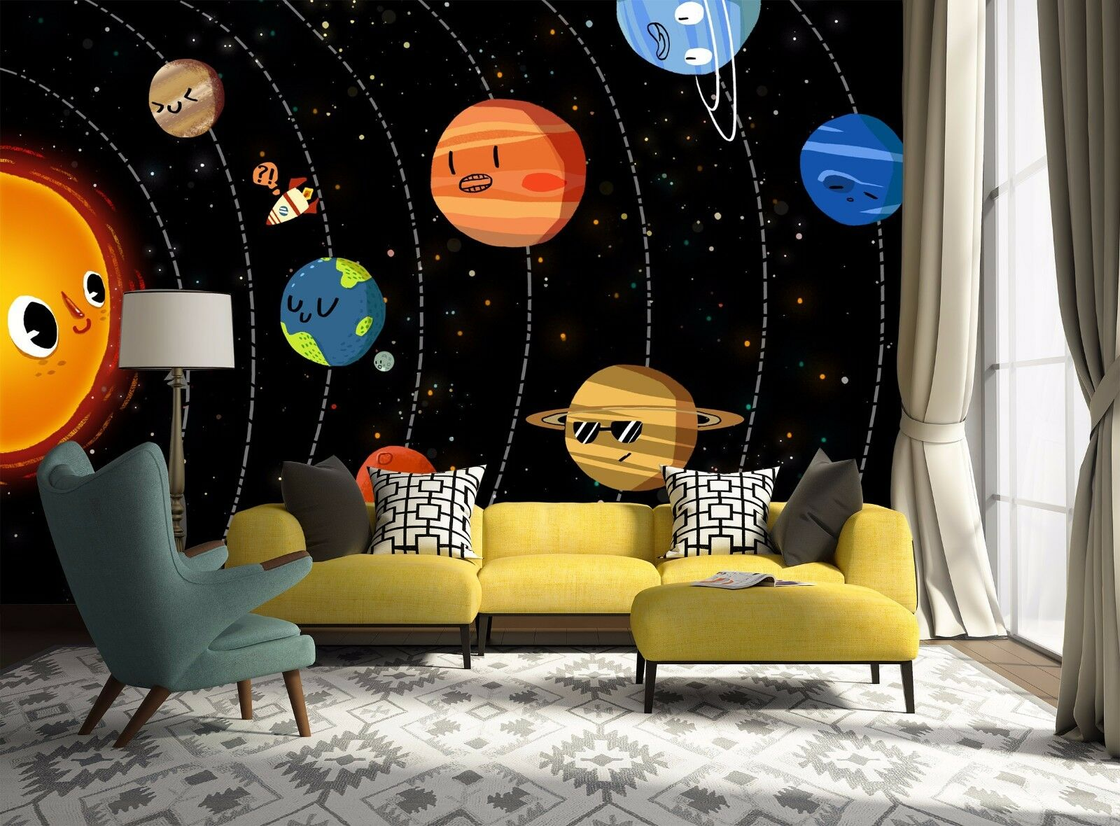 3D Cute Sun Planet 8 Wall Paper Murals Wall Print Wall Wallpaper Mural AU Summer
