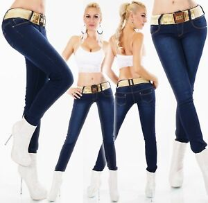 Women-039-s-skinny-slim-Jeans-stretch-Blue-Faded-with-Gold-Belt-Size-8-10-12-1-4-16