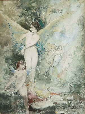 Art Clever French Watercolour Drawing Symbolist Art Painting Woman Angel Scene Symbolism Easy And Simple To Handle