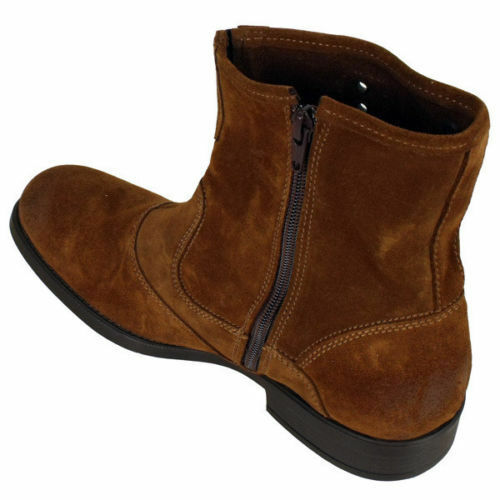 MEN NEU HANDMADE REAL SUEDE LEATHER BOOTS BROWN ANKLE HIGH BIKER BOOTS