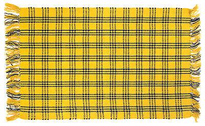100% Cotton Flat Weave Yellow & Blue Plaid 2'x3' Rug - Safflower