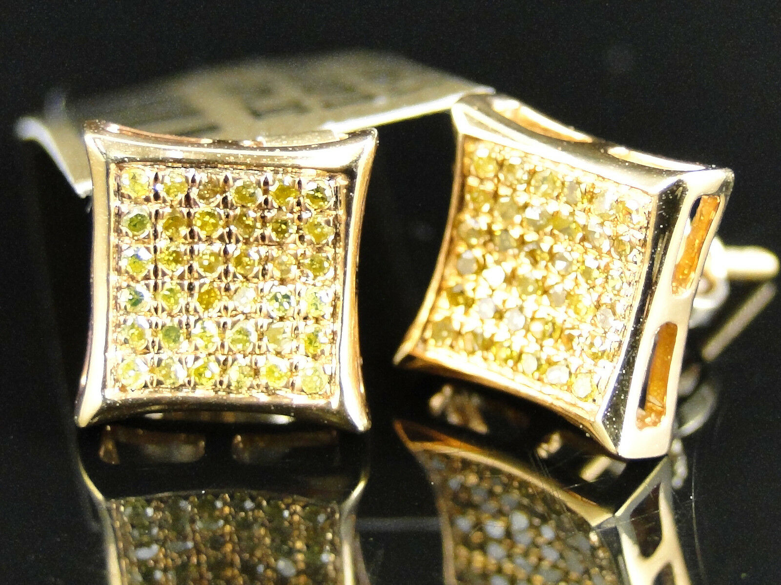 Mens Ladies 10K Yellow gold Canary Diamond Kite Pave Shape Stud Earrings 9 mm