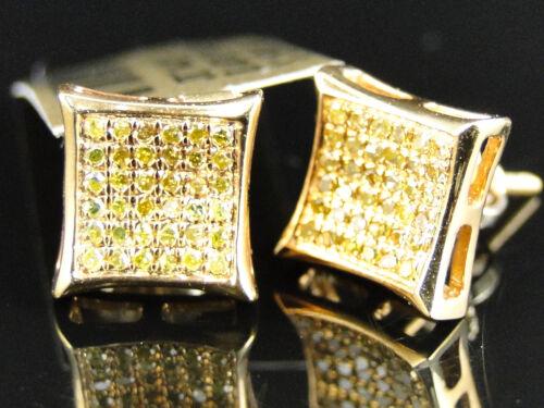 Homme Femme 10K Or Jaune Canari Diamant Kite Pave Forme Clous d/'oreilles 9 mm