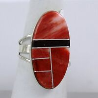 Navajo Indian Ring Size 8-1/2 Purple/red/orange Spiny Oyster Inlay Sterling