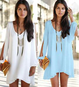 Women-Summer-Party-Chiffon-Solid-Top-Beach-Shift-Mini-Dresses-Clothes-Plus-Size