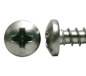 100 #6 x 1 Stainless Steel Phillips Pan Head Sheet Metal Screws Type A
