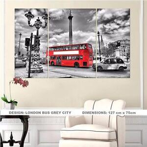 London-Bus-Grey-City-SPLIT-FRAMED-CANVAS-PRINT-Modern-Exclusive-Art