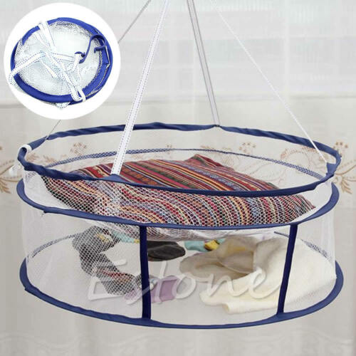 Drying Rack Folding Hanging Clothes Laundry Sweater Basket Dryer 2 Layers Net