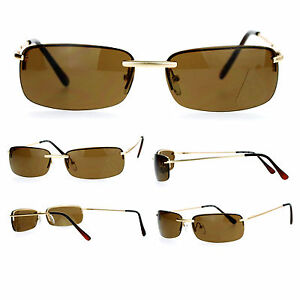 Gold Frame Rectangular Sunglasses : Classic Mens Rectangular Rimless Metal Frame Sunglasses ...