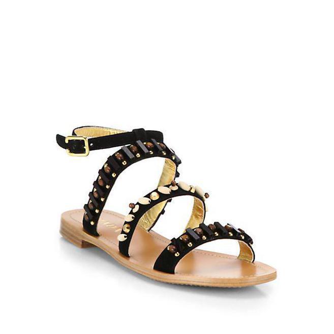 Retail  850 New Prada Beaded black Suede Sandals Made in