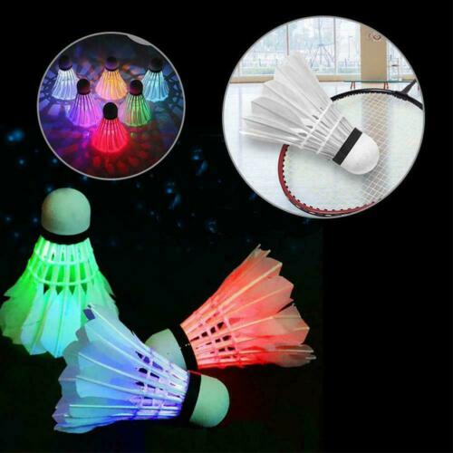 4 Pcs LED Glowing Badminton Shuttlecock Glow In Night Outdoor Accessories S O0B4