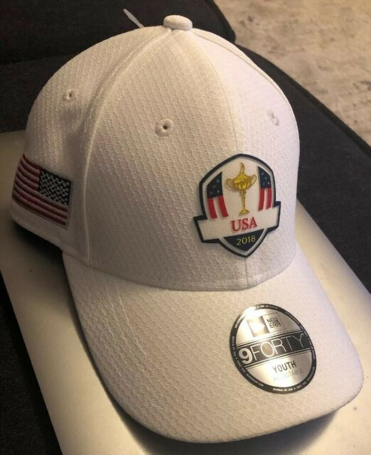 cb78a6229b8 2018 YOUTH New Era 9Forty USA Ryder Cup Practice Rounds White Adjustable  Hat Cap