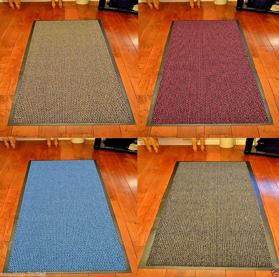 LARGE /& SMALL RUGS BACK DOOR HALL KITCHEN HEAVY DUTY NON SLIP RUBBER BARRIER MAT