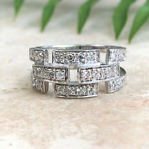 Details about  /New Real 925 Sterling Silver Loop /& Link Connected Wide Ring White CZ Pave Band