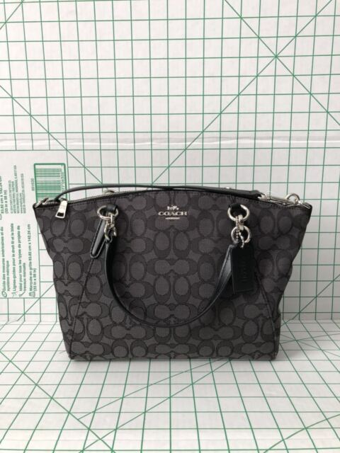 51a03dae37 switzerland coach f27582 outline signature small kelsey jacquard satchel  black crossbody bag c2f1f 7b34c