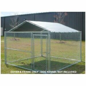 Image is loading Dog-House-Cover-Only-10-x-10-Kennel-  sc 1 st  eBay & Dog House Cover Only 10 x 10 Kennel Canopy Outdoor Roof Cage Pen ...