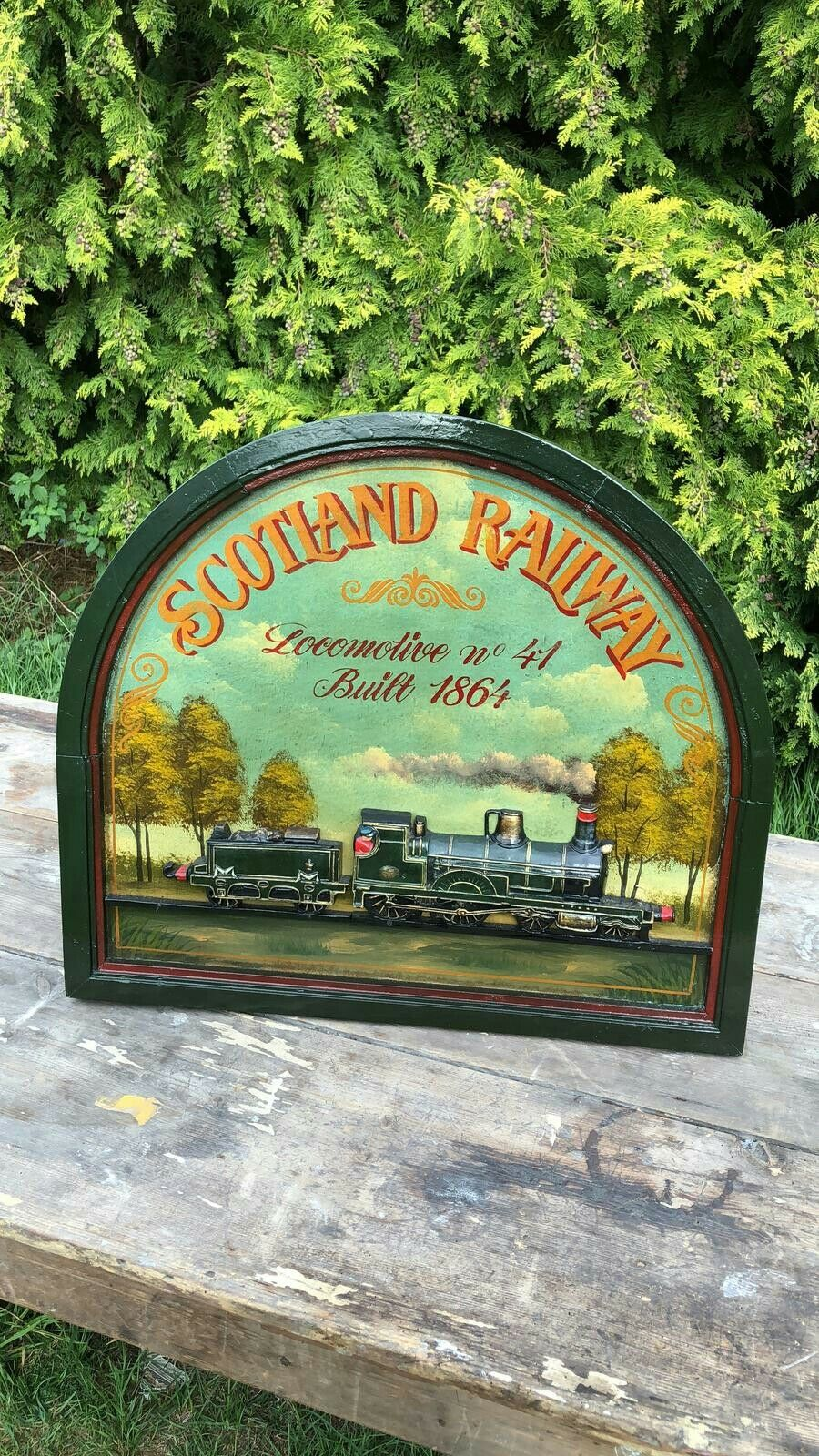 Beautiful Large Vintage Hand Carved No 1 Locomotive Train Sign Country Corner