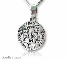 925 Sterling Silver Necklace with believe in yourself inspirational pendant gift