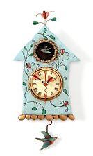 Allen Designs FLY Bird Clock Nuovo/Scatola Originale uccelli nel aviario pendolo orologio orologio da parete p8008