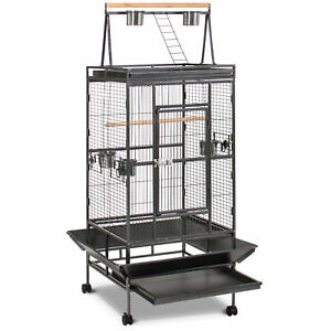 68in-Durable-Bird-Cage-w-Long-Wooden-Perch-Play-Area-amp-Rolling-Wheels-Black