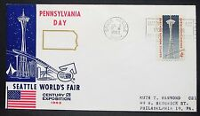 Pennsylvania Day Seattle World's Fair Cachet Cover Space Needle 4c Brief (Y-328