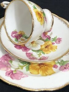 VINTAGE-ROSLYN-CHINA-SUMMER-BEAUTY-TRIO-TEACUP-SAUCER-AND-PLATE-FLORAL-GOLD-EDGE