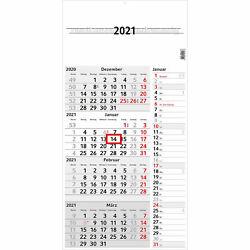 """Wandkalender """"Konzept Vier"""" 4 Monate pro Seite 2021 Weiß"""