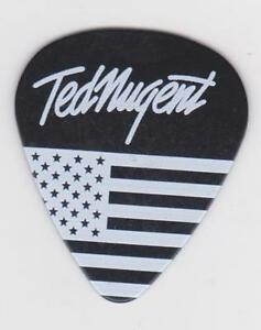 ted nugent guitar pick black white american flag 2016 concert tour the nuge ebay. Black Bedroom Furniture Sets. Home Design Ideas
