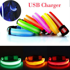 RECHARGEABLE-USB-LED-Dog-Pet-Light-Up-Safety-Collar-Night-Glow-Adjustable-Bright