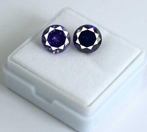 Loose-Gemstone-Pair-Purple-Sapphire-8-Ct-Natural-Round-Cut-AGSL-Certified-2-Pcs
