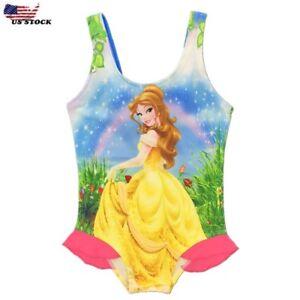 Girls Disney Beauty And The Beast Belle Swim WearSwimming CostumeSwimsuit