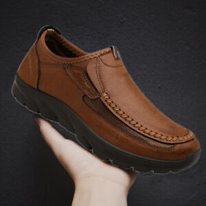 Men-039-s-Leather-Casual-Shoes-Antiskid-Breathable-Driving-Slip-on-Loafers-Moccasins