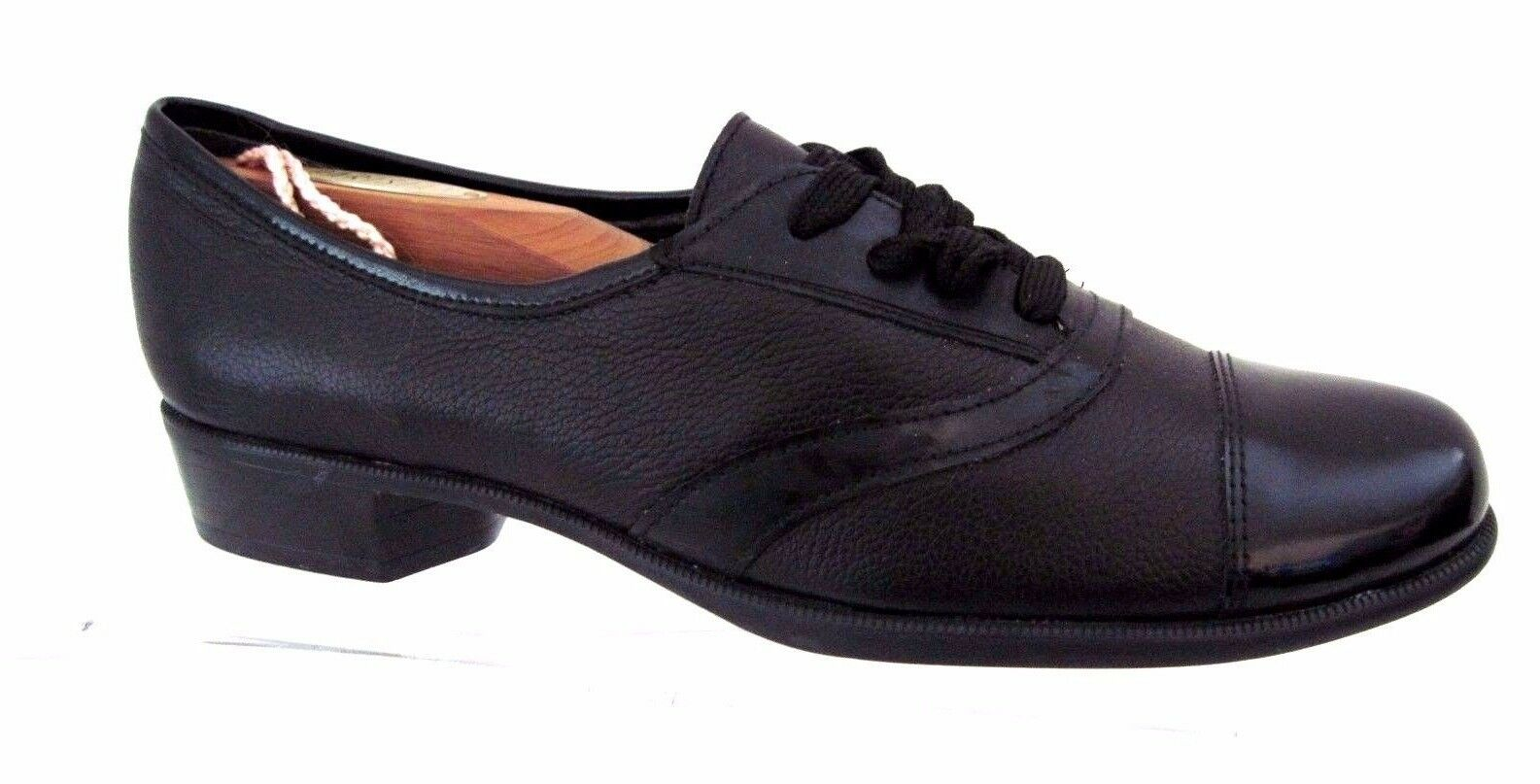 MUNRO American Black Leather Cap Toe Oxfords Size 7 SS USA