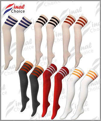 Freundlich Ladies Womens Girls Thigh High Over The Knee Referee Socks One Size Uk 4-6 • Geschickte Herstellung