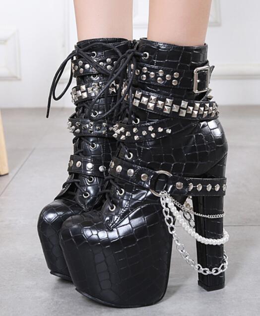 Mujer Encaje Bloque Tacón Remache Cadena de de de Metal Cremallera Lateral botas al Tobillo Zapatos  marca de lujo