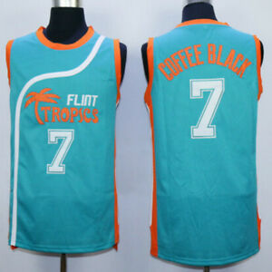 Flint-Tropics-7-Coffee-Black-Movie-Jersey-Basketball-Jerseys-Green-Stitched
