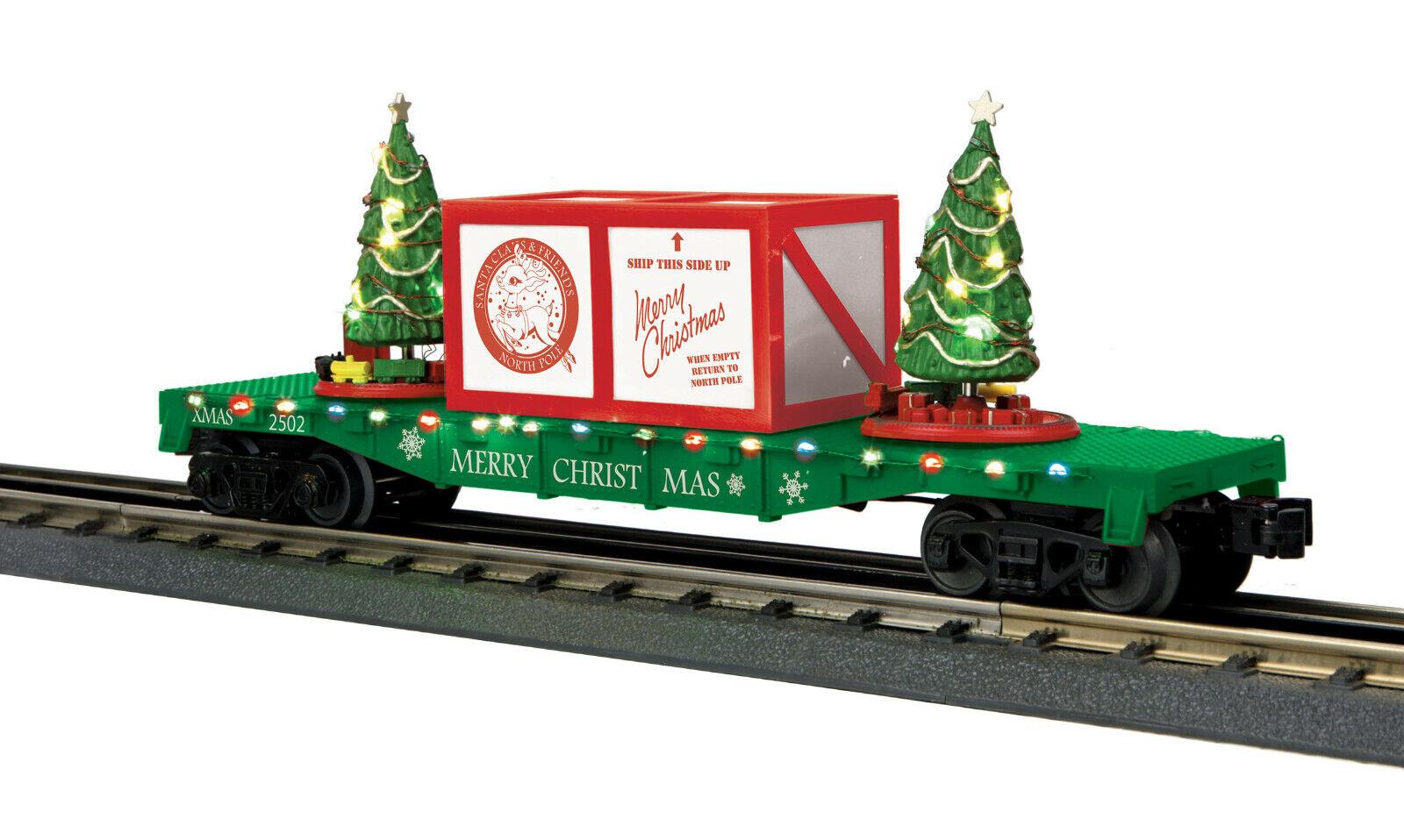 MTH  30-76773 CHRISTMAS Grün  FLATCAR WITH LIGHTED CHRISTMAS TREES