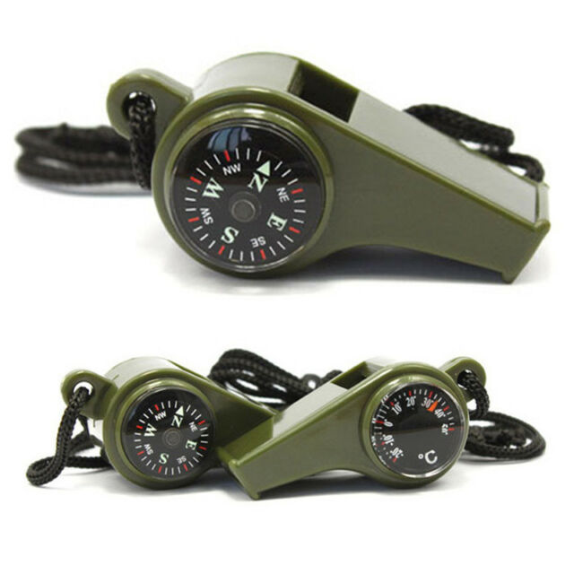 Outdoor Hiking Camping 3 in1 Emergency Survival Gear Whistle Compass Thermometer