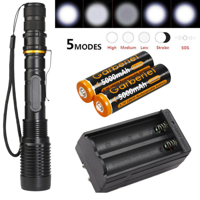 5 Modes T6 50000LM LED 18650 Tactical Flashlight Zoomable Military Focus Torch