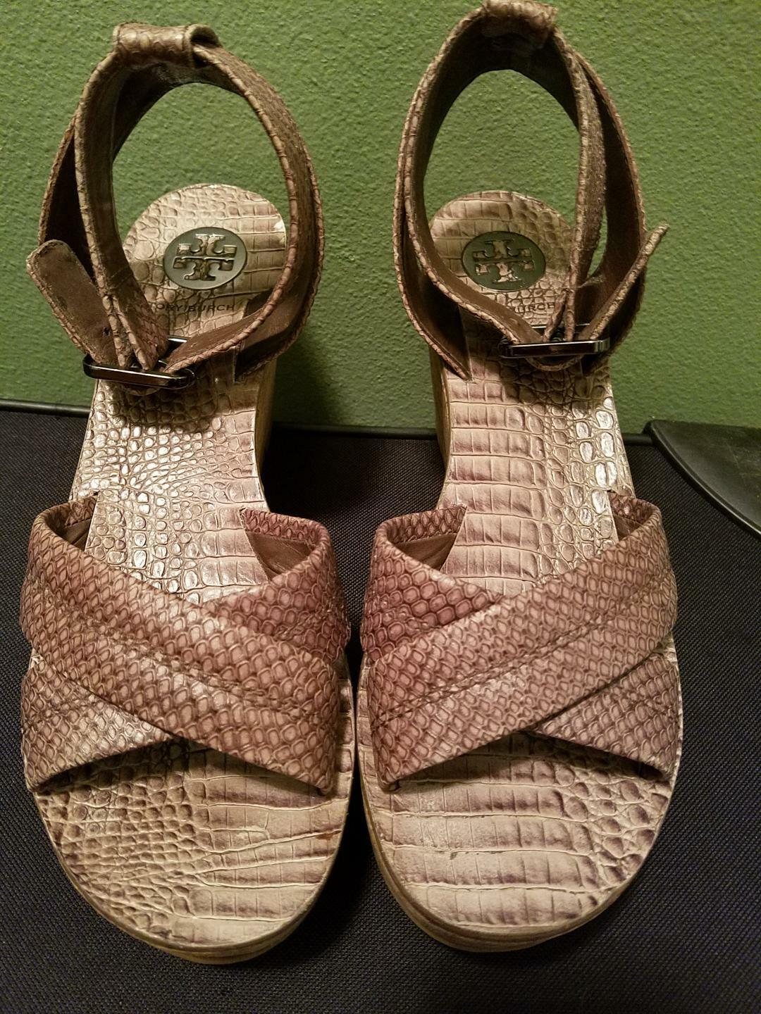 Tory Burch Srappy Cork Wedge Heels Croc Leather Sandals Size 9M Brown