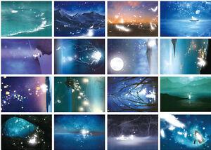 LOT-30PCS-Glow-in-Dark-Postcard-Illustration-River-Mountain-Trees-Bulk-Set-98