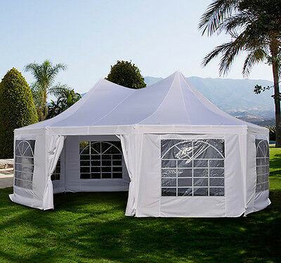Large Outdoor 22'x16'Heavy Duty Decagonal Gazebo Canopy Wedding Party Tent New