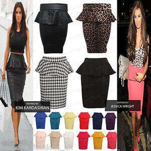 New-Womens-Ladies-Peplum-Frill-Pencil-Bodycon-Knee-Length-Skirt-Plus-Size-8-22