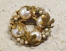 Vintage Miriam Haskell Baroque Pearl & Gold Tone Leaf Pin Brooch